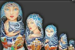 Russian matryoshka doll nesting babushka beauty girl winter handmade exclusive