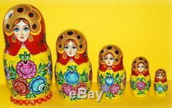Russian matryoshka doll nesting babushka beauty gorodets handmade