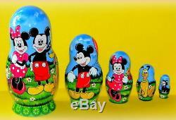 Russian matryoshka doll nesting babushka beauty mickey mouse Tales handmade
