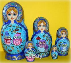 Russian matryoshka doll nesting babushka beauty owl handmade