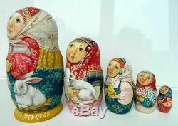 Russian matryoshka doll nesting babushka beauty rabbit girl handmade exclusive