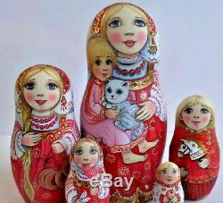 Russian matryoshka doll nesting babushka beauty red cat handmade exclusive