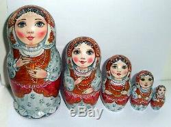 Russian matryoshka doll nesting babushka beauty red handmade exclusive