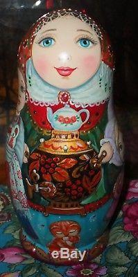 Russian matryoshka doll nesting babushka beauty samovar tea handmade exclusive