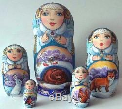 Russian matryoshka doll nesting babushka beauty winter animal handmade exclusive