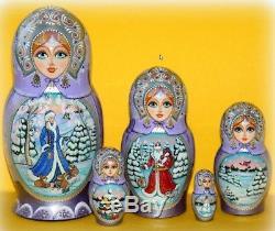 Russian matryoshka doll nesting babushka beauty winter christmas handmade