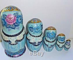 Russian matryoshka doll nesting babushka beauty winter gjel handmade exclusive