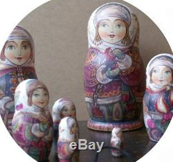 Russian matryoshka doll nesting babushka beauty winter handmade exclusive