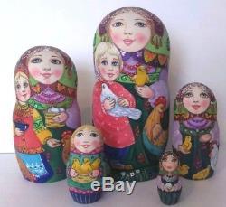 Russian matryoshka doll nesting babushka chickens handmade exclusive
