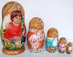 Russian matryoshka doll nesting babushka children village handmade exclusive