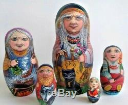 Russian matryoshka doll nesting babushka tales Baba Yaga handmade exclusive