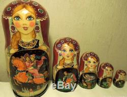 Russian matryoshka doll nesting babushka tales handmade