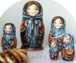 Russian matryoshka doll nesting babushka winter Fair handmade exclusive