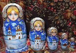 Russian matryoshka doll nesting babushka winter christmas handmade