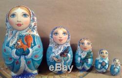 Russian matryoshka doll nesting babushka winter christmas handmade exclusive