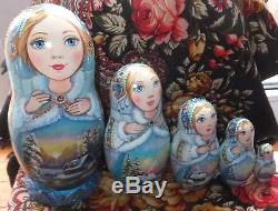 Russian matryoshka doll nesting babushka winter gjel handmade exclusive