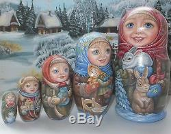 Russian matryoshka doll nesting babushka winter handmade exclusive