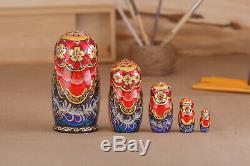 Russian matryoshka dolls, nesting dolls, 5 pieces stacking dolls, handmade doll