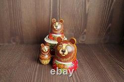 Russian matryoshka, handmade bear babushka nesting doll (3 pcs.)