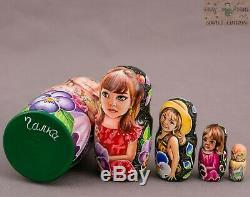 Russian matryoshka nesting dolls Author signed 6 in 5pcs OOAK wooden babushka