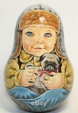 Russian matryoshka roly-poly babushka doll beauty boy dog handmade exclusive