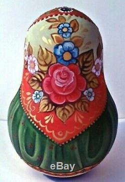 Russian matryoshka roly-poly babushka doll girl beauty cat handmade exclusive