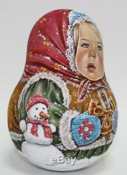 Russian matryoshka roly-poly babushka doll girl winter handmade exclusive
