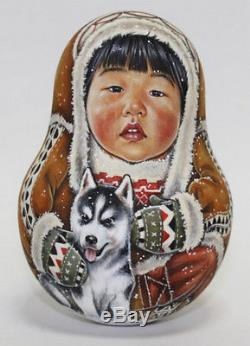 Russian matryoshka tumbler babushka doll Chukcha North handmade exclusive