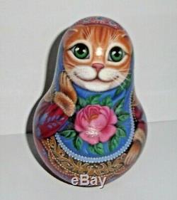 Russian matryoshka tumbler babushka doll beauty Cat handmade exclusive
