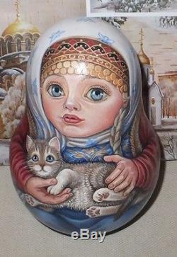 Russian matryoshka tumbler babushka doll beauty girl cat handmade exclusive