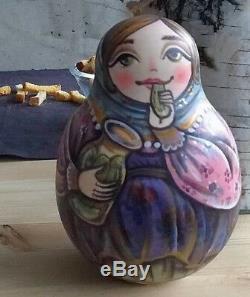 Russian matryoshka tumbler babushka doll pickled cucumber handmade exclusive