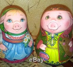 Russian matryoshka tumbler doll babushka beauty hristmas pigs SET handmade