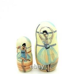 Russian nesting DOLLS Edgar Degas Babushka Ballet Ballerina 5 signed Petrushina