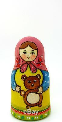 Russian nesting doll 5 HAND PAINTED Matt Matryoshka Girls & Toys RYABOVA signed