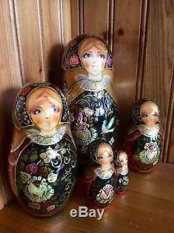 Russian nesting doll 5 MULTI COLOURS GOLD BLACK Khokhloma Babushka Matryoshka
