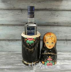 Russian nesting doll Case, Damask under a bottle of Vodka. Black color