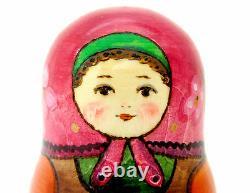 Russian nesting doll Matryoshka BIG 3 Dad & Mushrooms Mama Strawberry RYABOVA