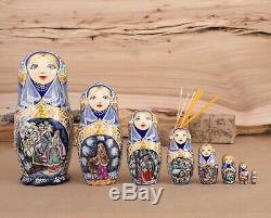 Russian nesting doll, Matryoshka, Wooden souvenir doll, Carved matryoshka