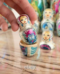 Russian nesting dolls, 20 pieces Matryoshka, Russian doll purple Morozko