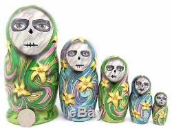 Russian nesting dolls 5 Day of the Dead SUGAR SKULL BUTTERFLY GIRLS Calavera ART