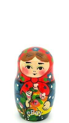 Russian nesting dolls 5 HAND PAINTED Matt Babushka & ROWAN Winter Girls RYABOVA