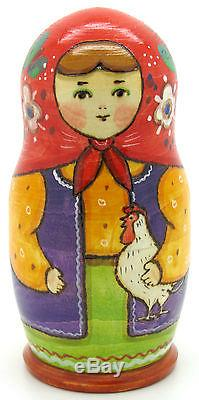 Russian nesting dolls 5 TRADITIONAL Matryoshka Chicken RYABOVA signed