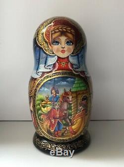 Russian nesting dolls, Matryoshka, 10-pieces set, Firebird fairytale, handmade