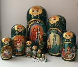 Russian nesting dolls, Matryoshka, 10-pieces set, fairytale, handmade