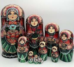 Russian nesting dolls, Matryoshka, 10-pieces set, handmade