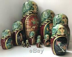 Russian nesting dolls, Matryoshka, 15-pieces set, Pushkins fairytales, handmade