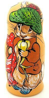 Russian nesting dolls Matryoshka PETER RABBIT Benjamin Bunny Mrs. Rabbit 3