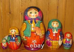 Russian nesting dolls Matryoshka Ryabova Pig Chicken Goose 5 HAND PAINTED signed
