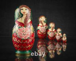 Russian nesting dolls Matryoshka with flowers and birds Nesting doll matryoshka