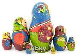 Russian nesting dolls RYABOVA Large Matryoshka & Chicken Genuine 7 HAND PAINTED